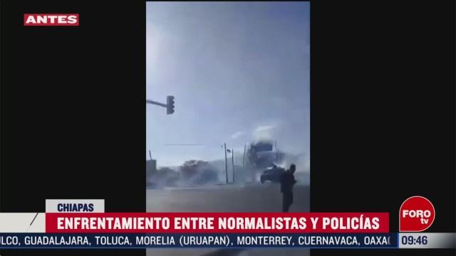 FOTO: 16 Febrero 2020, enfrentamiento entre policias y estudiantes normalistas en chiapas