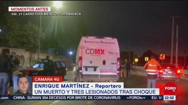 FOTO: 2 Febrero 2020, fallece una persona tras accidente en la mexico cuernavaca