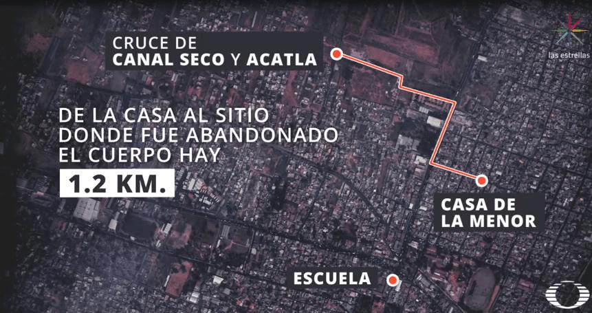 FOTO Mapa de la distancia entre la casa de Fátima y zona donde fue hallado su cuerpo (Noticieros Televisa)