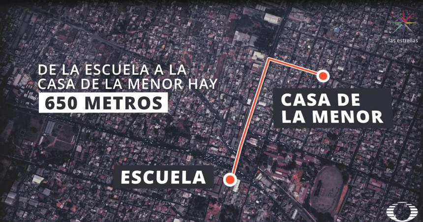 Mapa del recorrido de la escuela de Fátima Cecilia a su casa (Noticieros Televisa)