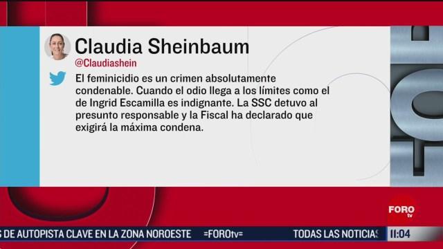 fiscalia pedira maxima condena por feminicidio de ingrid escamilla dice shenbaum