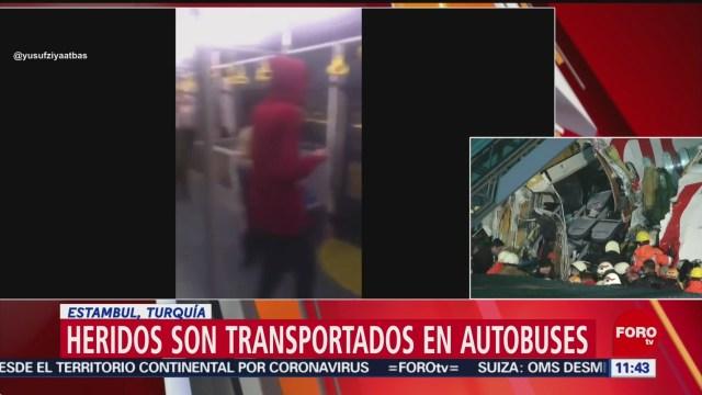 heridos por accidente aereo son transportados en autobuses en turquia
