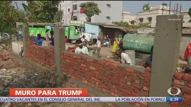 india prepara muro para visita de donald trump
