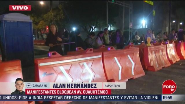 Foto: Manifestantes Bloquean Avenida Cuauhtémoc Contra Metrobús 27 Febrero 2020
