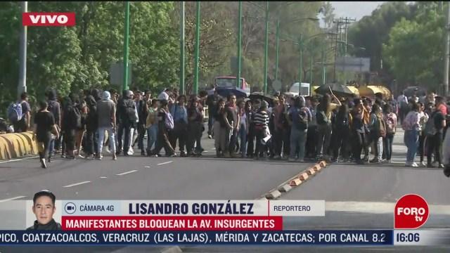 FOTO: manifestantes bloquean avenida insurgentes