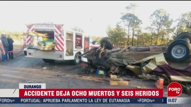 mueren ocho personas por accidente carretero en durango