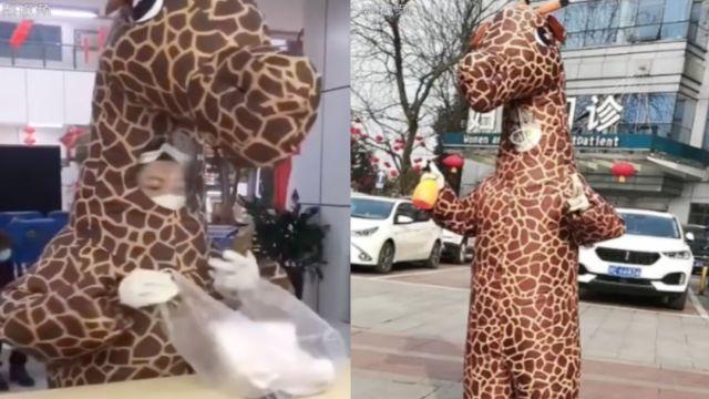 Foto Video: Mujer se disfraza de jirafa para evitar contagio coronavirus 17 febrero 2020