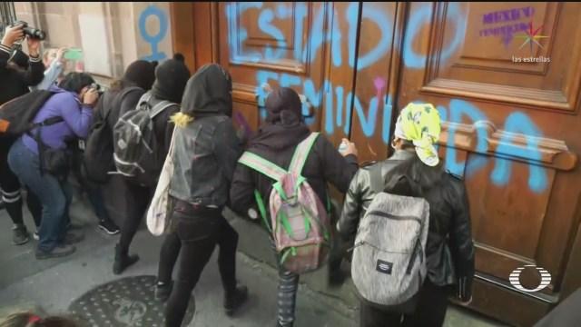 Foto: Mujeres Protestan Palacio Nacional Confrontan Amlo 14 Febrero 2020