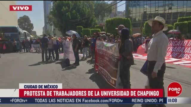 protesta de trabajadores de la universidad de chapingo