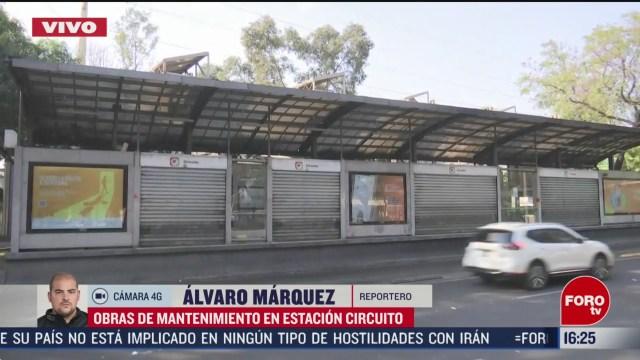 FOTO: realizan mantenimiento en estacion circuito del metrobus de la cdmx