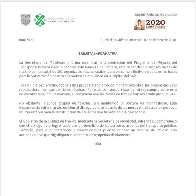 Tarjeta Informativa Secretaría Movilidad