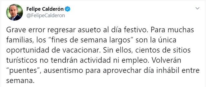 Foto: 'Grave error regresar asueto al día festivo', dice Felipe Calderón