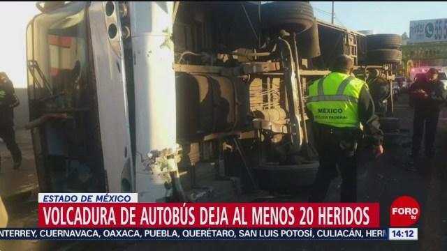 FOTO: varios lesionados tras volcadura de autobus en la mexico pachuca