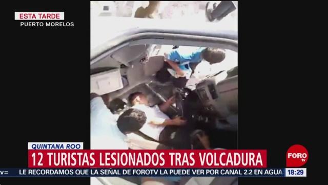 FOTO: volcadura deja 12 turistas lesionados en q roo