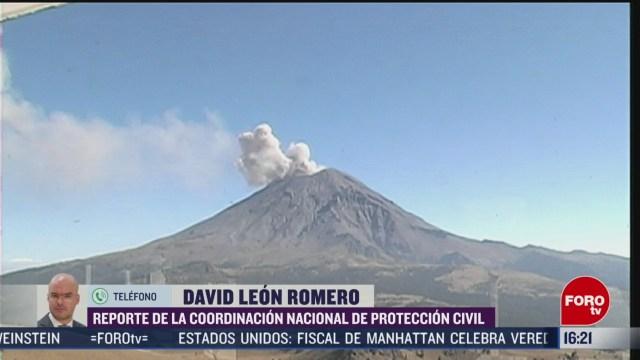 FOTO: volcan popocatepetl emite exhalacion