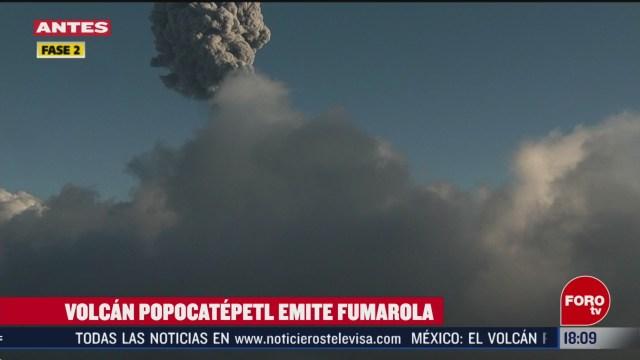 FOTO: volcan popocatepetl emite larga columna de ceniza