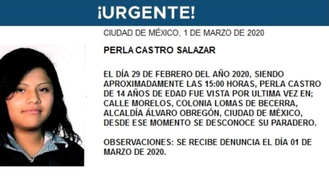 Foto: Activan Alerta Amber para Perla Castro Salazar, de 14 años de edad