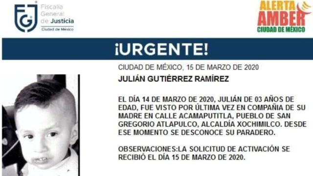 IMAGEN Se activa Alerta Amber por Julián Gutiérrez Ramírez (Fiscalía CDMX)