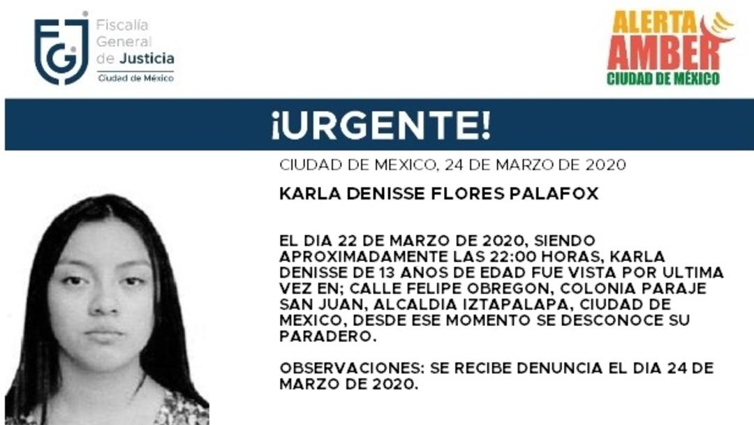 FOTO: Activan Alerta Amber para localizar a Karla Denisse Flores Palafox, el 25 de marzo de 2020