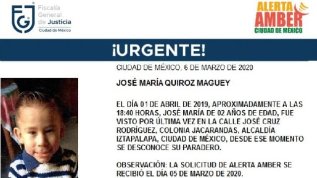 FOTO: Activan Alerta Amber para localizar a José María Quiroz Maguey, el 06 de marzo de 2020