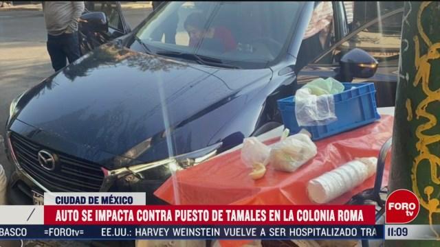 auto choca contra puesto de tamales en la colonia roma cdmx