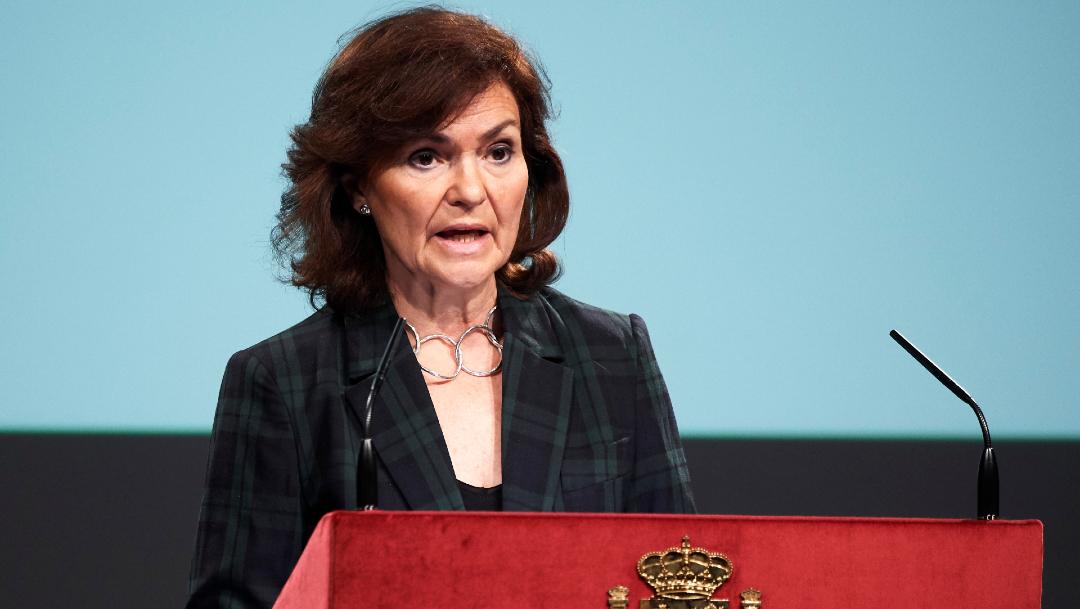 FOTO: La vicepresidenta del Gobierno español, positivo por coronavirus, el 25 de marzo de 2020