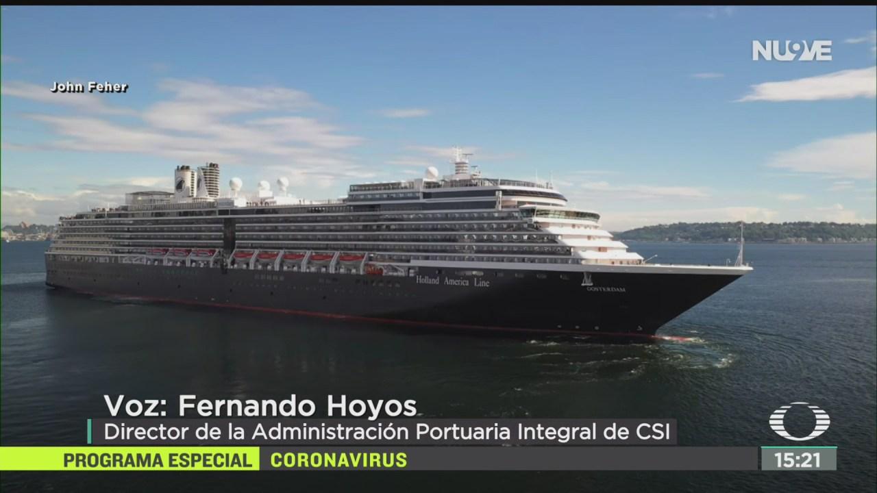 FOTO: crucero holandes llega a costas de bcs analizan posibles casos de coronavirus