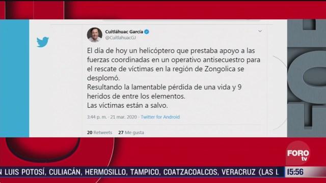 FOTO: 21 marzo 2020, cuitlahuac garcia confirma un muerto tras desplome de helicoptero en veracruz