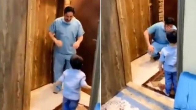 Coronavirus-Mexico-llora-Enfermero-Doctor-Abrazo-Abrazar-Hijo-Video-Viral-Redes-Sociales--Noticias-COVID-19, Ciudad de México, 31 de marzo 2020