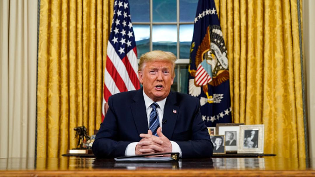 Foto: El presidente Donald Trump ofrece una conferencia de prensa desde la Oficina Oval, 13 marzo 2020
