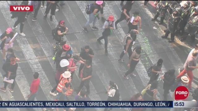 FOTO: 8 marzo 2020, encapuchadas hacen pintas en fachadas durante marcha del dia internacional de la mujer