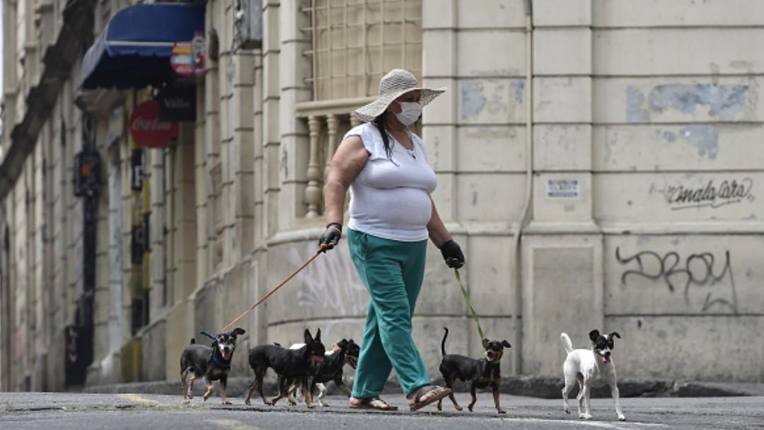 Foto: Una mujer pasea a varios perros. Getty Images