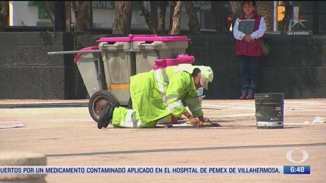 limpian monumentos de la cdmx tras pintas de marcha 8m