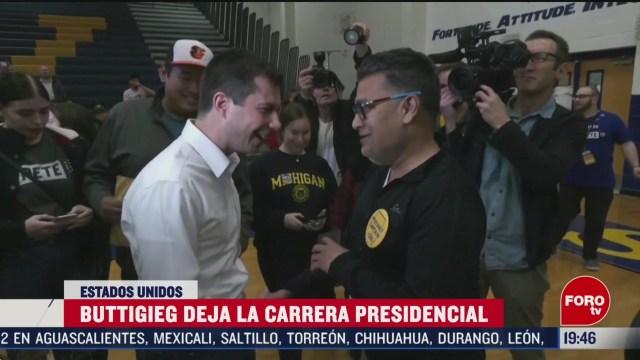 FOTO: 1 marzo 2020, pete buttigieg abandona la campana presidencial de estados unidos