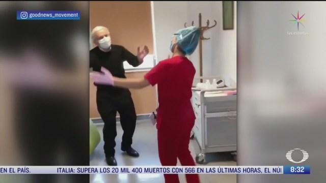 abuelito se recupera de coronavirus e invita a bailar a enfermera