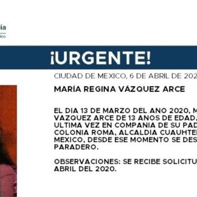 FOTO: Activan Alerta Amber para localizar a María Regina Vázquez Arce, de 13 años, el 7 de abril de 2020