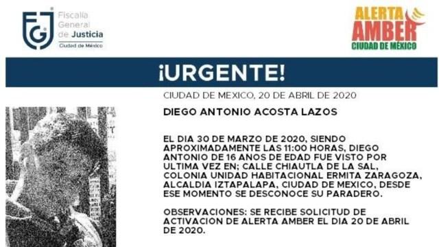 FOTO: Alerta Amber para localizar a Diego Antonio Acosta Lazos, el 21 de abril de 2020