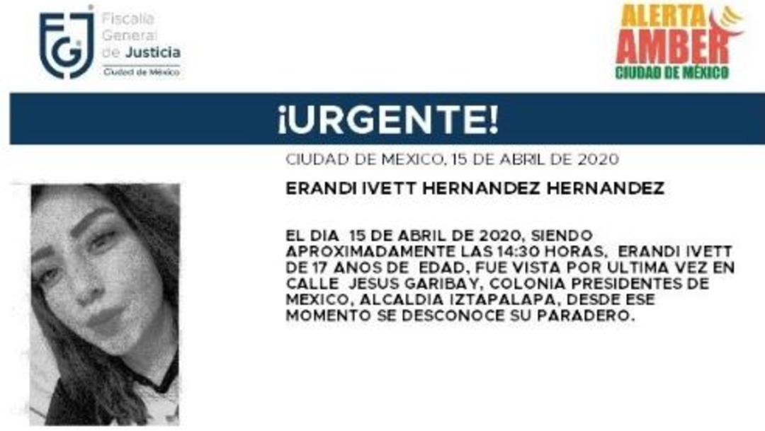 Foto: Activan Alerta Amber para localizar a Erandi Ivett Hernández Hernández, 16 abril 2020