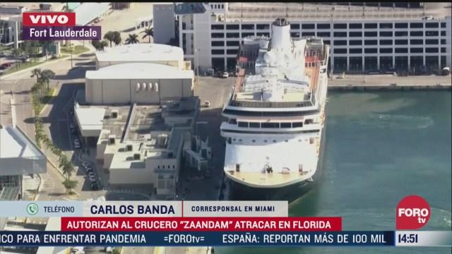 FOTO: autorizan al crucero zaandam atracar en florida pese a coronavirus
