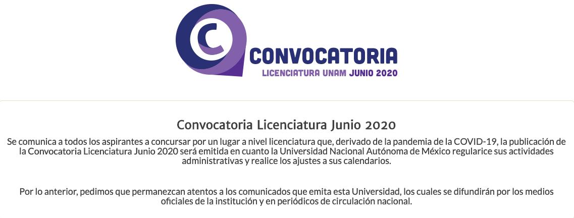UNAM CONVOCATORIA LICENCIATURA
