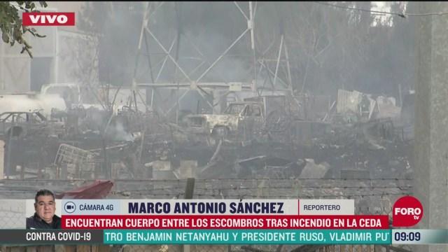 encuentran cuerpo entre los escombros tras incendio en la ceda