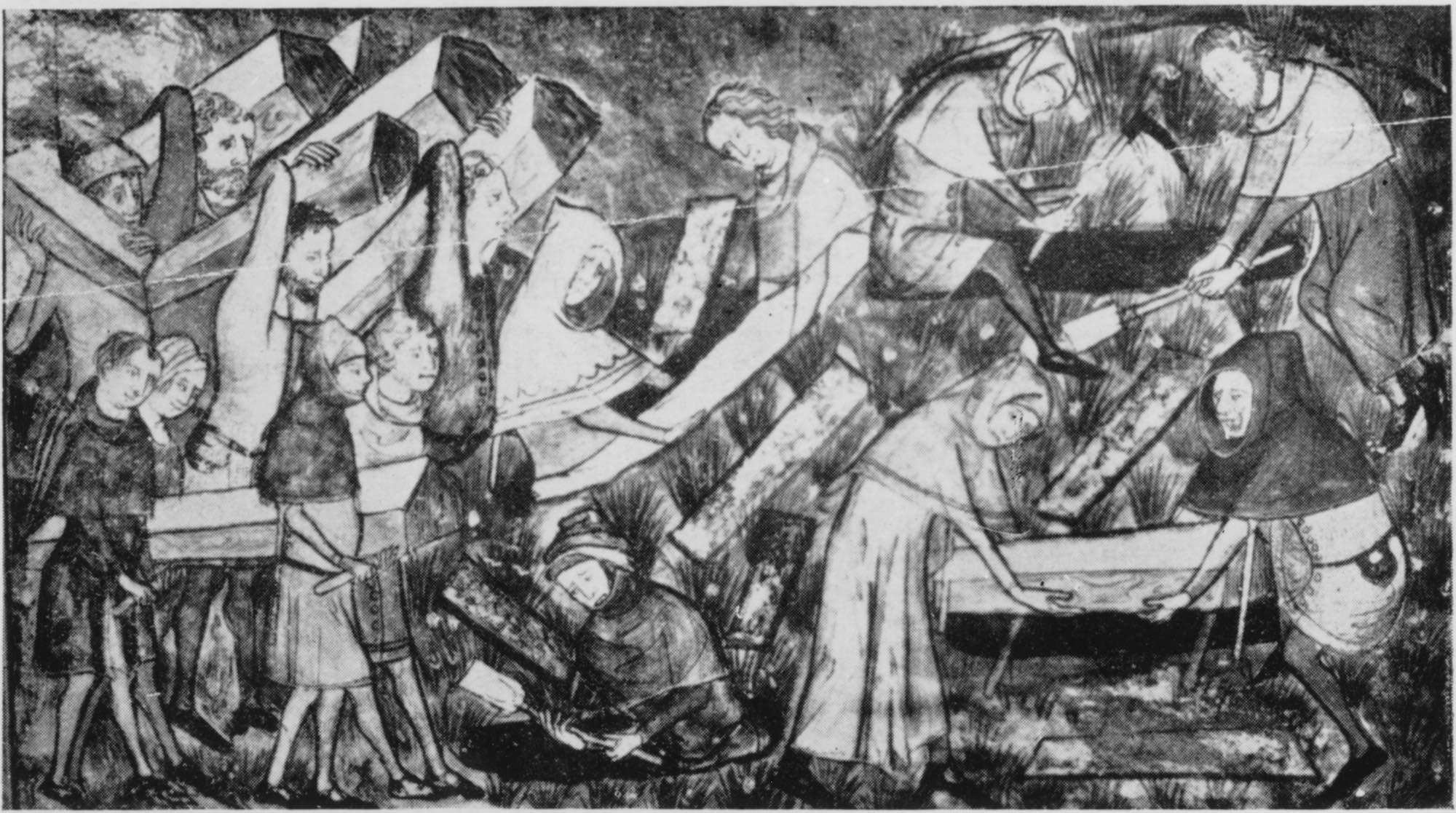 Gente cargando tumbas durante Peste Negra Europa, Pintura