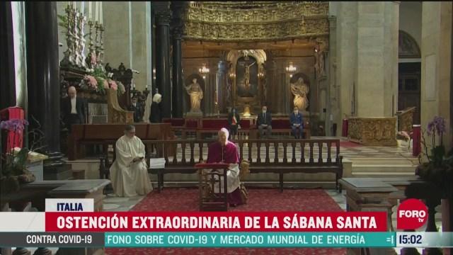 FOTO:11 de abril 2020, exhiben sabana santa en italia por medio de las redes sociales