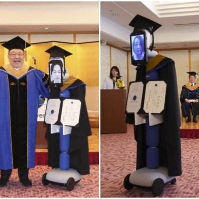 Por coronavirus, robots recogen diplomas de estudiantes recién graduados