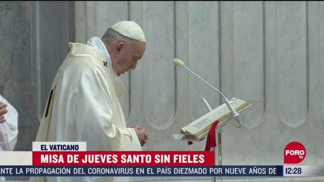papa francisco ofrece la santa misa de la cena del senor