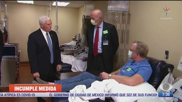pence se niega a usar cubrebocas durante visita a hospital