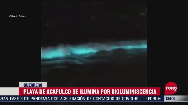 FOTO: playa de acapulco se ilumina por bioluminiscencia