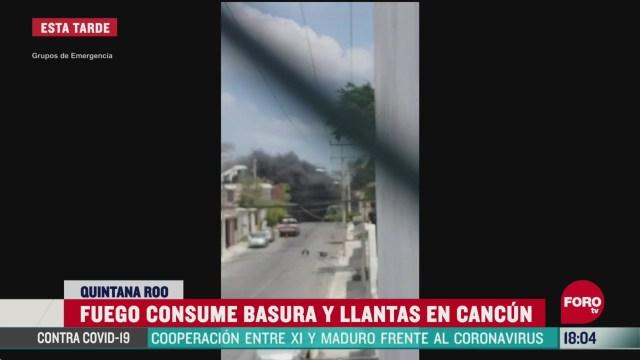 FOTO:12 de abril 2020, se registra incendio en previo de cancun