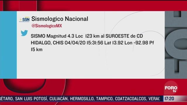 FOTO: 4 de abril 2020, se registran dos sismos en chiapas no hay reporte de danos