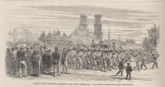 Grabado de Le Monde Ilustré que muestra la llegada del batallón egipcio a Francia después de la invasión a México.